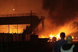 un'immagine dell'incidente di Viareggio nel 2009