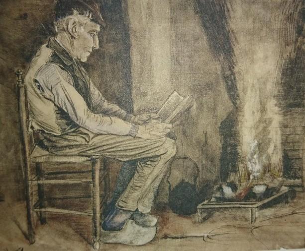 Vincent Van Gogh (1853-1890) Homme assis au coin du feu, lisant, 1881