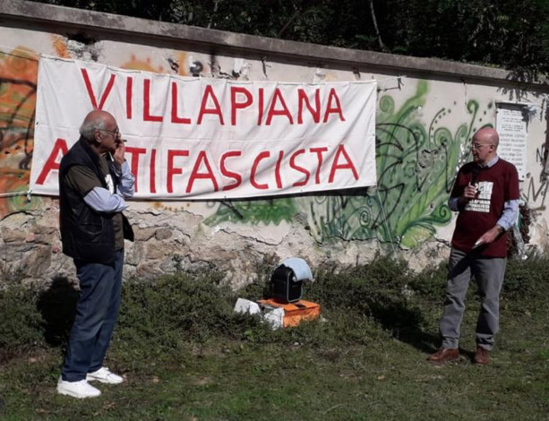 Balduino Astengo e Giuseppe Milazzo alla Passeggiata antifascista dello scorso ottobre a Madonna degli Angeli