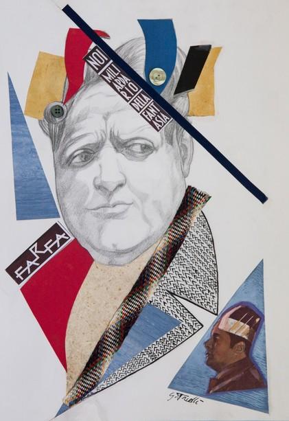 Giuseppe Trielli, Omaggio a Farfa, 2020, tecnica mista su carta e collage, coll. priv.