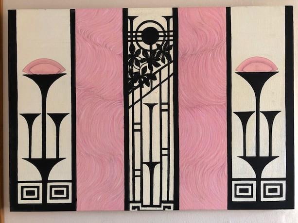 Luca Elena, Geometrie e ondulazioni. 2021, acrilico, cm. 50x70