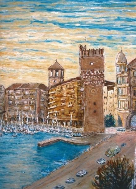 Immagine:  Valter Allemani, La Torre Pancaldo e il porto di Savona, olio su tela, cm. 30x50.